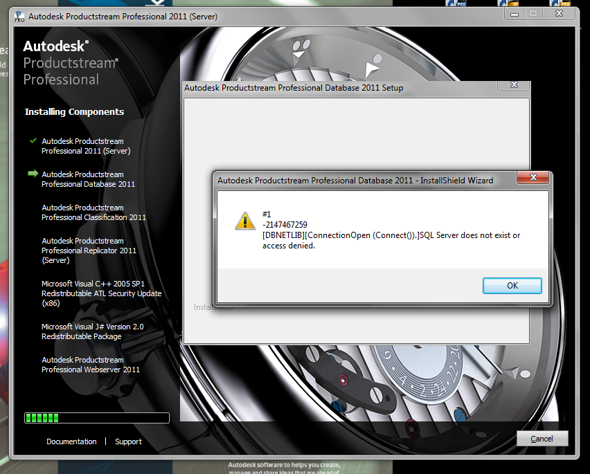Autodesk Productstream 2011 error while conneting sql ...