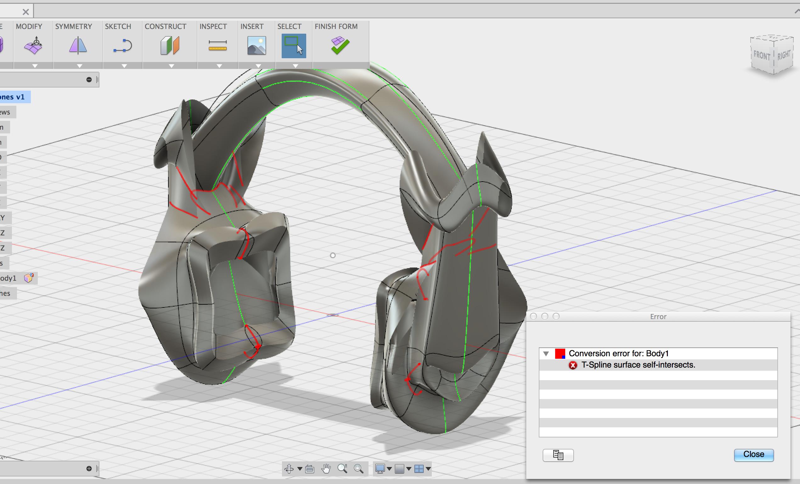 T Spline Surface Self Intersects Autodesk Community Fusion 360