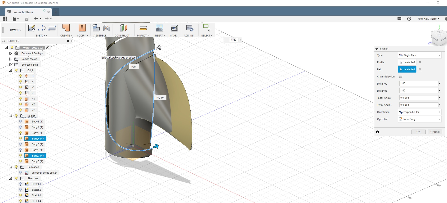 Sweeping Problem with Fusion 360 bottle tutorial - Autodesk