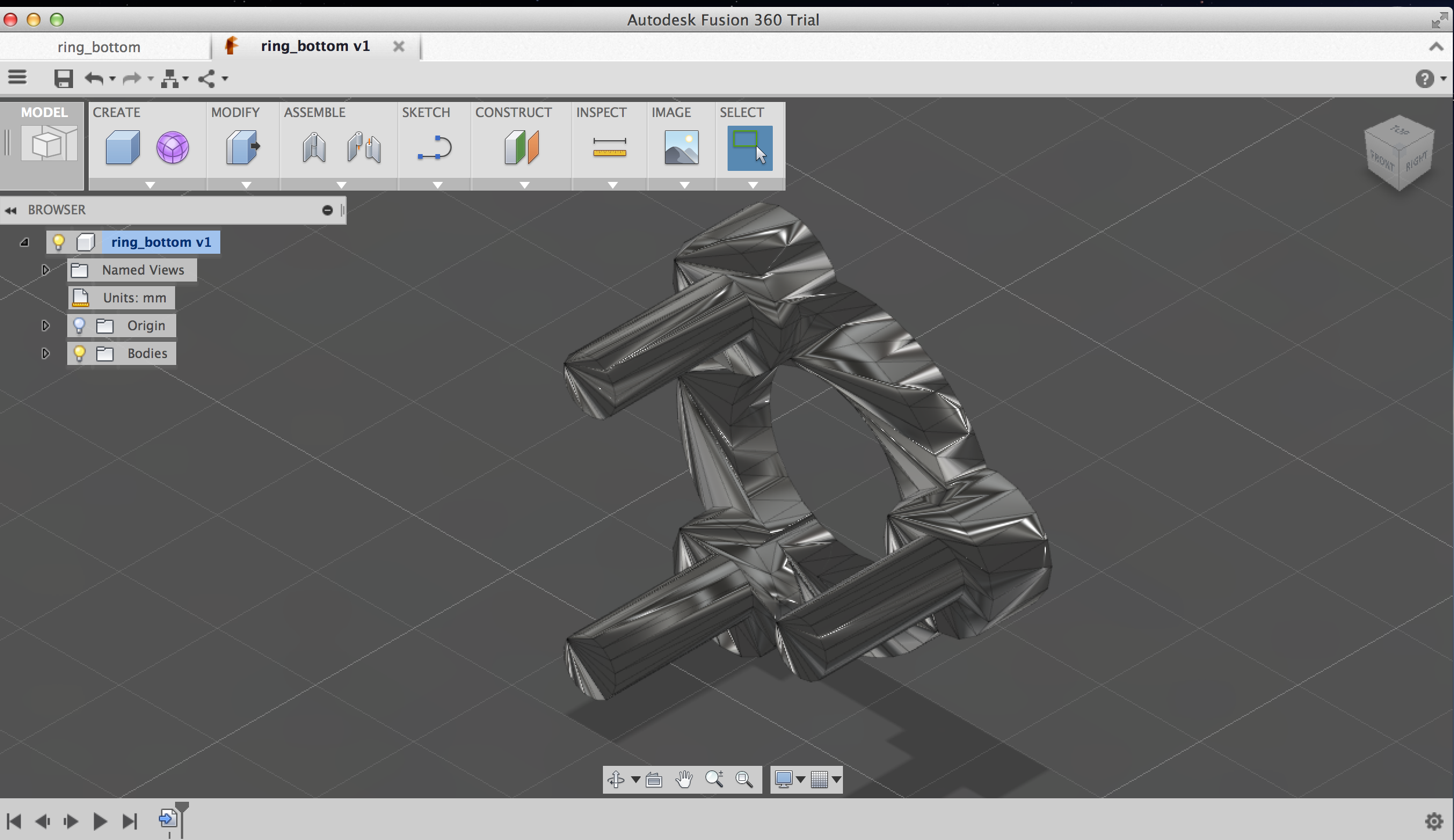 imported stl file into Fusion 360, how to edit a specific