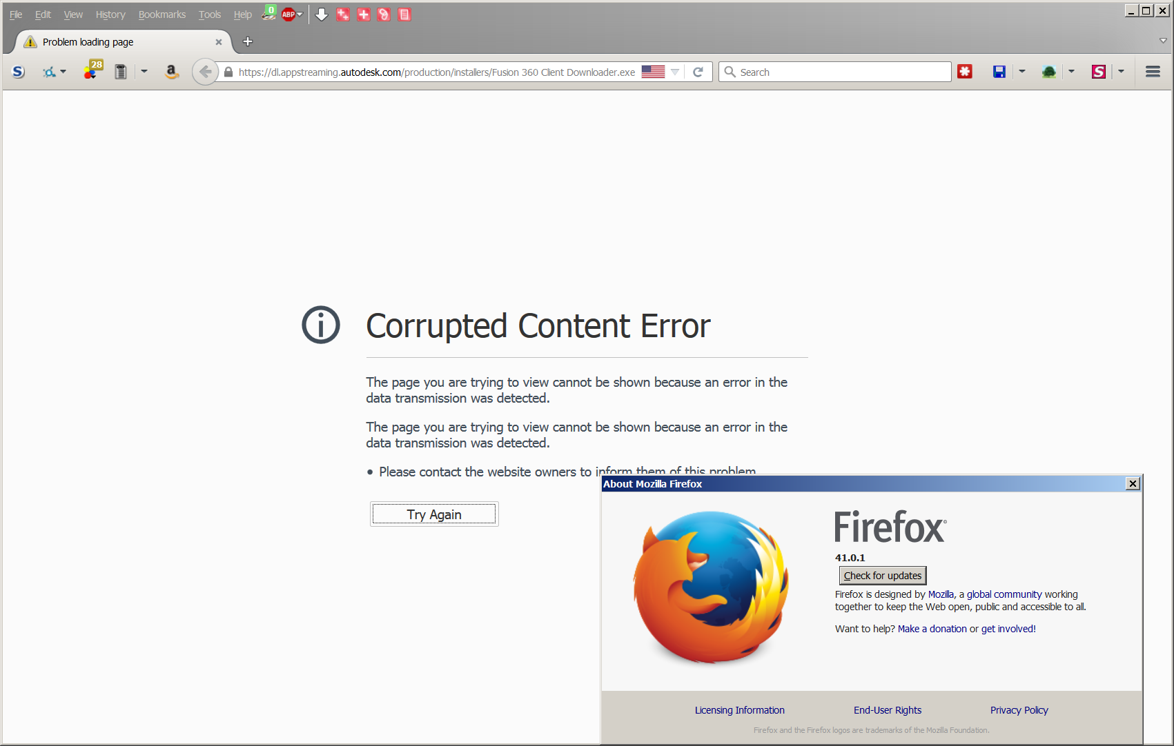 Firefox & Pale Moon say the connection is corrupt