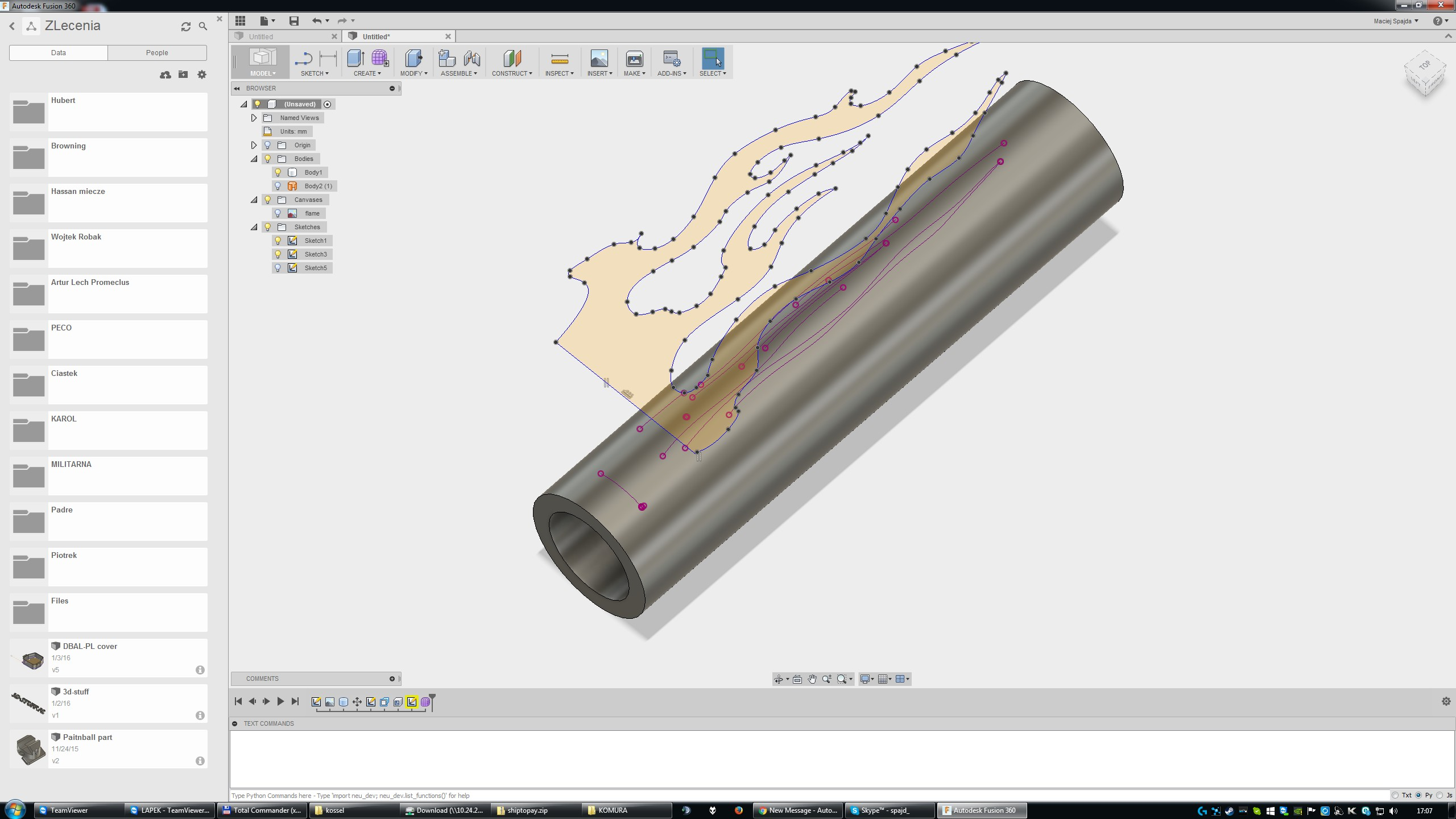 Fusion 360 - Wrap sketch around cylinder and extrude