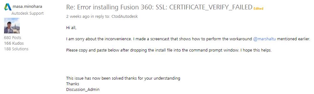 Solved: Error installing Fusion 360: SSL: CERTIFICATE_VERIFY_FAILED ...