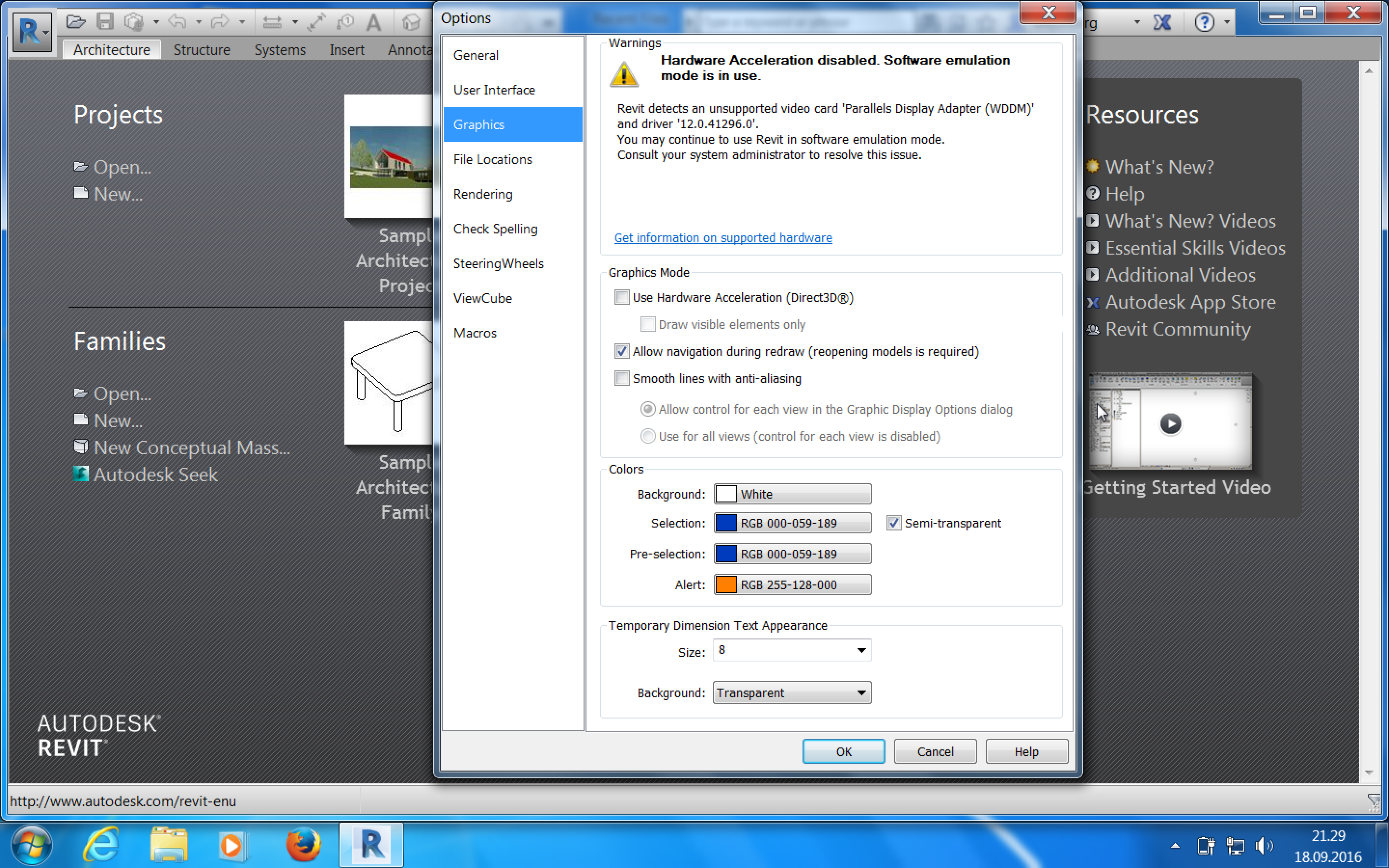Macbook pro 15-Parallels-win7 and Revit 2017