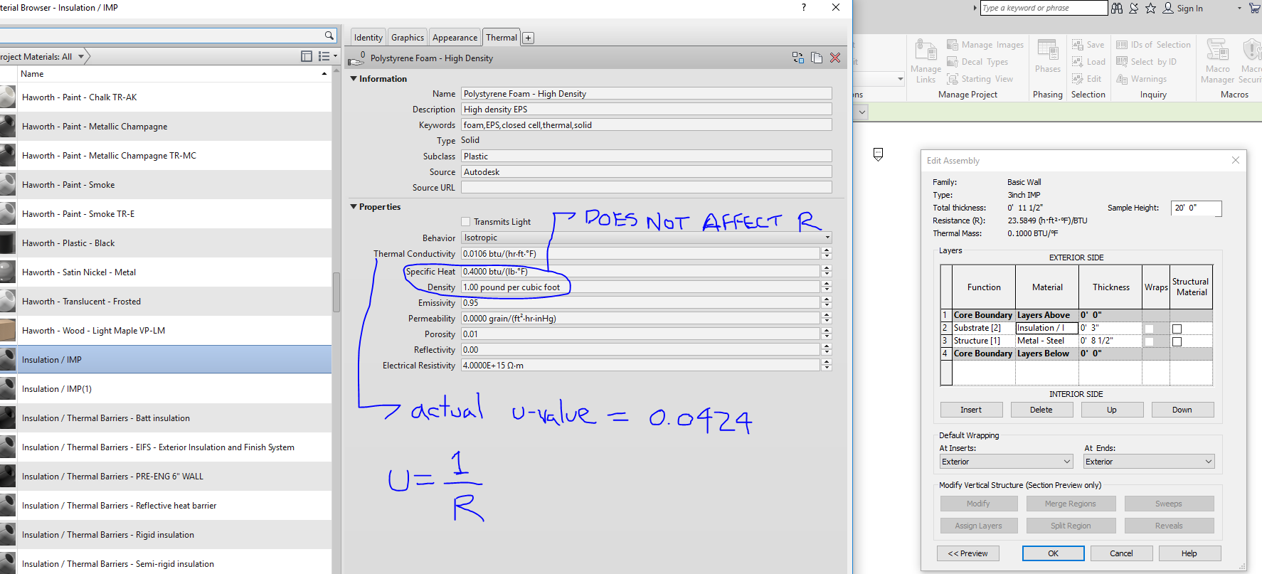 Solved: Revit Analytical Properties indicate an R value when