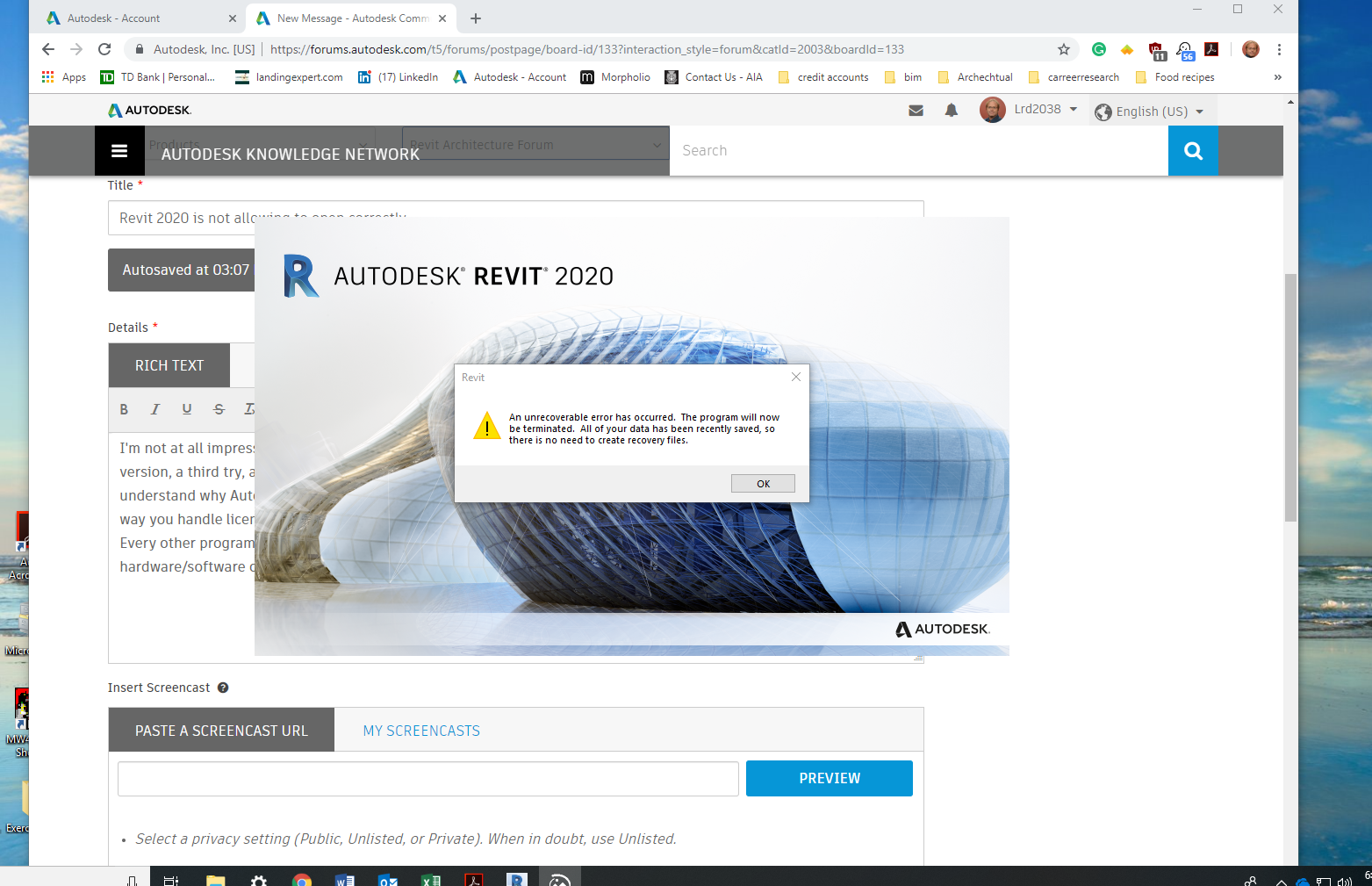 Revit 2020 is not allowing to open correctly - Autodesk