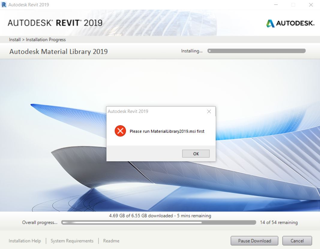 Solved: Installing Revit 2019, Error with Materials Library