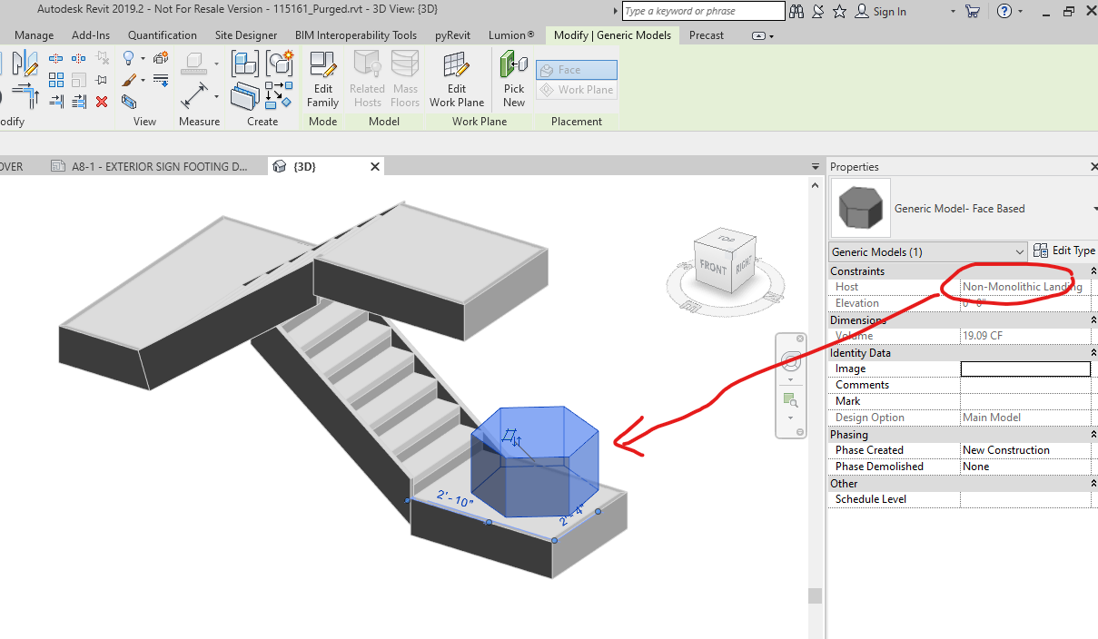 Cannot host elements to certain stair landings  - Autodesk
