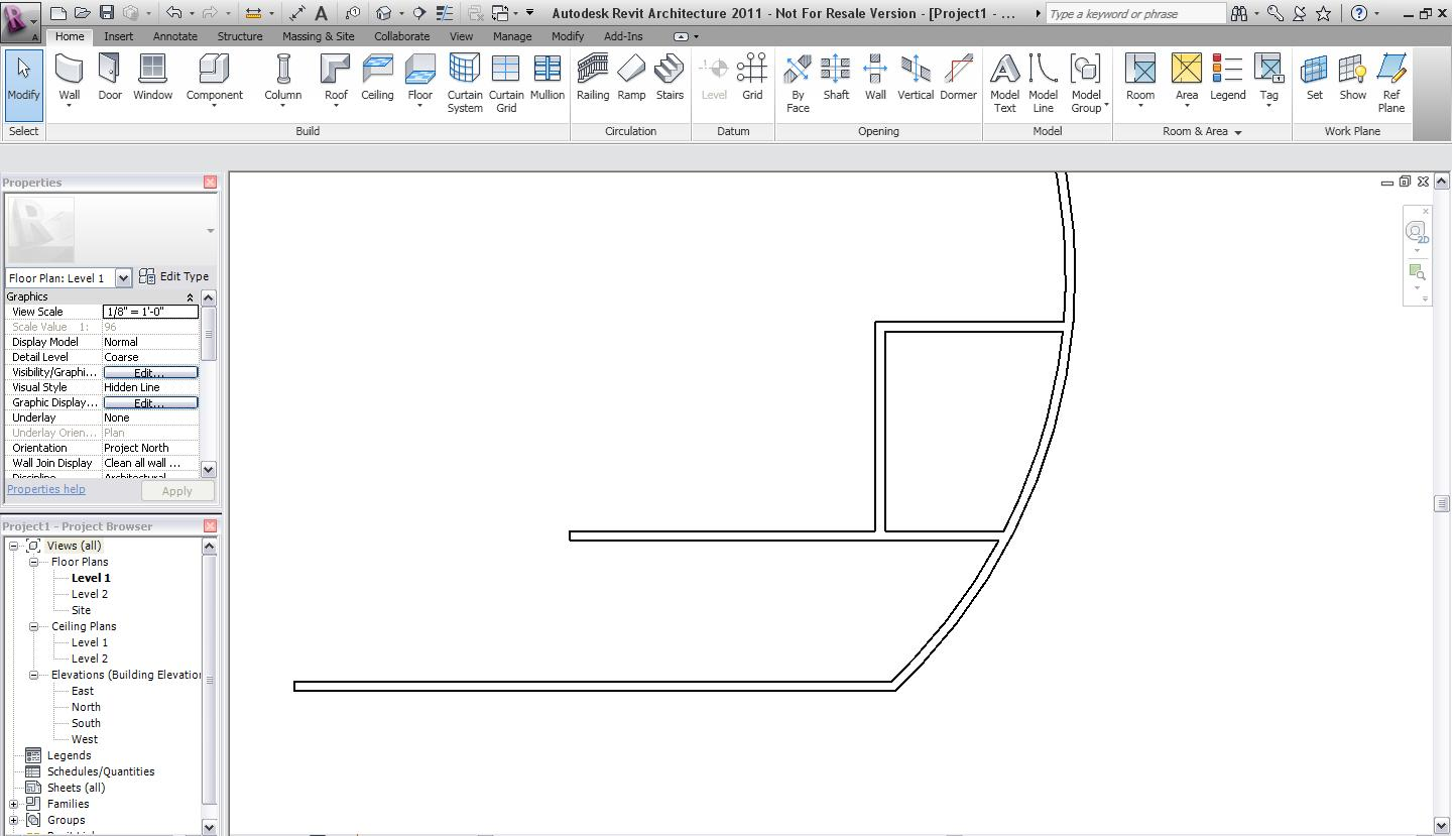 Create Simple Curved Roof You Join Wall To Bowed Autodesk Community Revit S