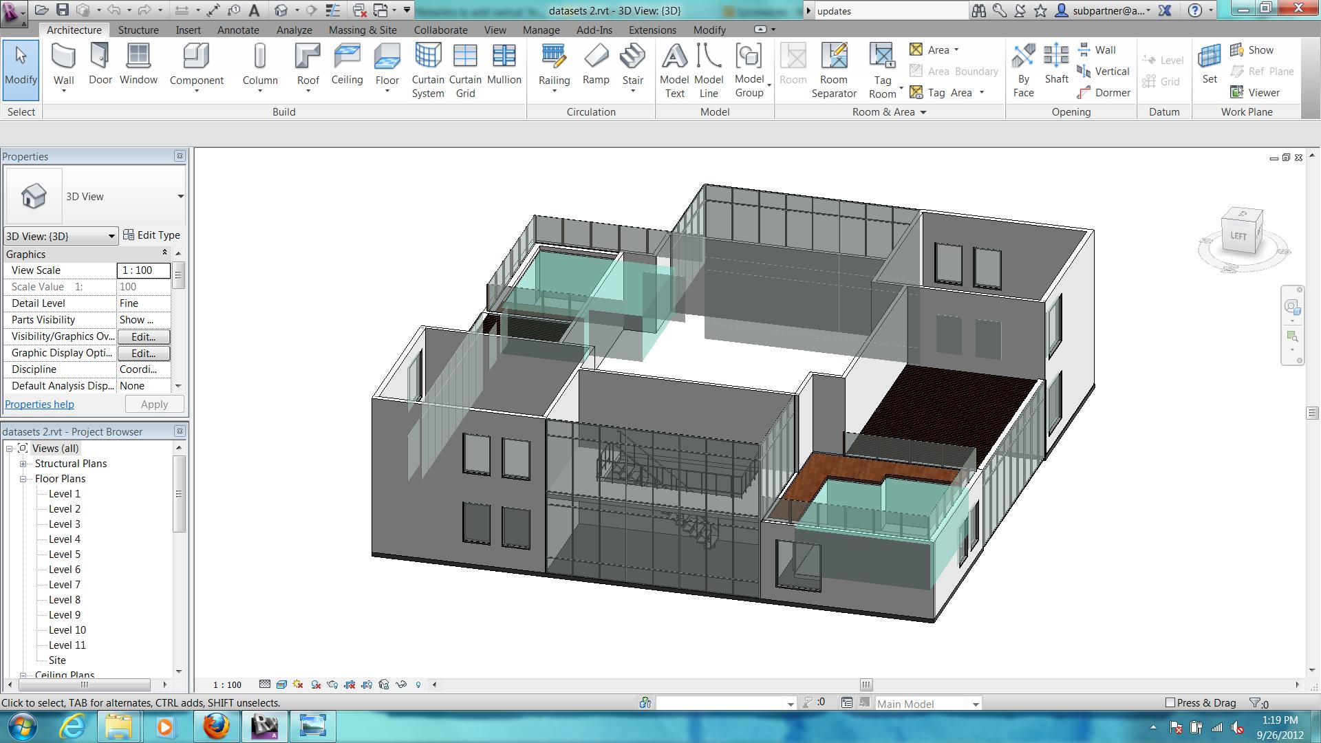 solved revit 2013 seeing glass thru walls floors in 3d