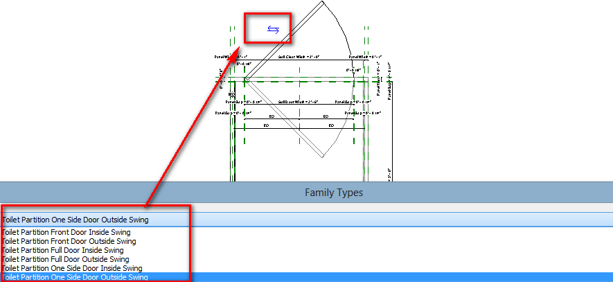 Bathroom Stalls Revit solved: changing door swing direction in a downloaded toilet stall