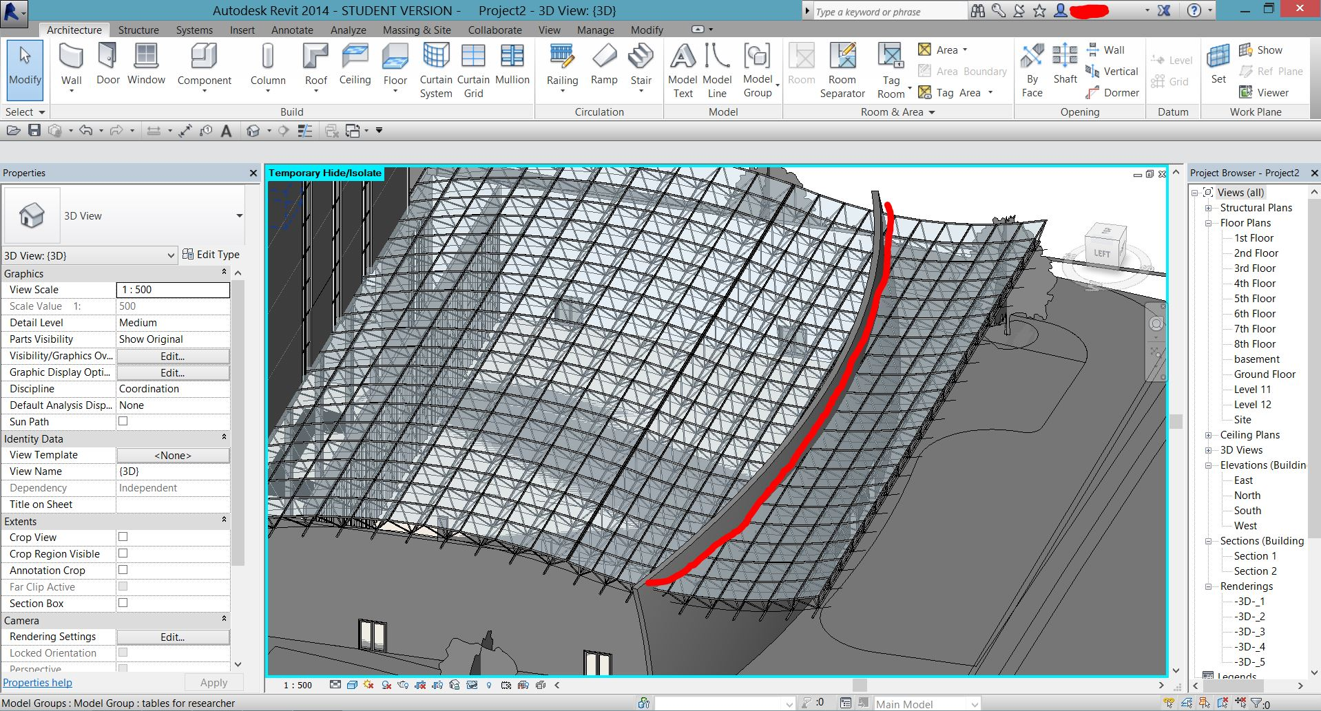 how to crop the space frame by vertical opening - Autodesk Community ...
