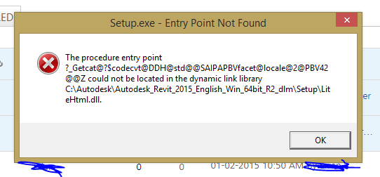 Procedure entry point could not be located in the dynamic link