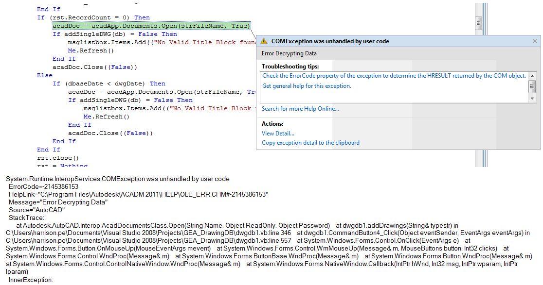 Autocad Vba Error Decrypting Data