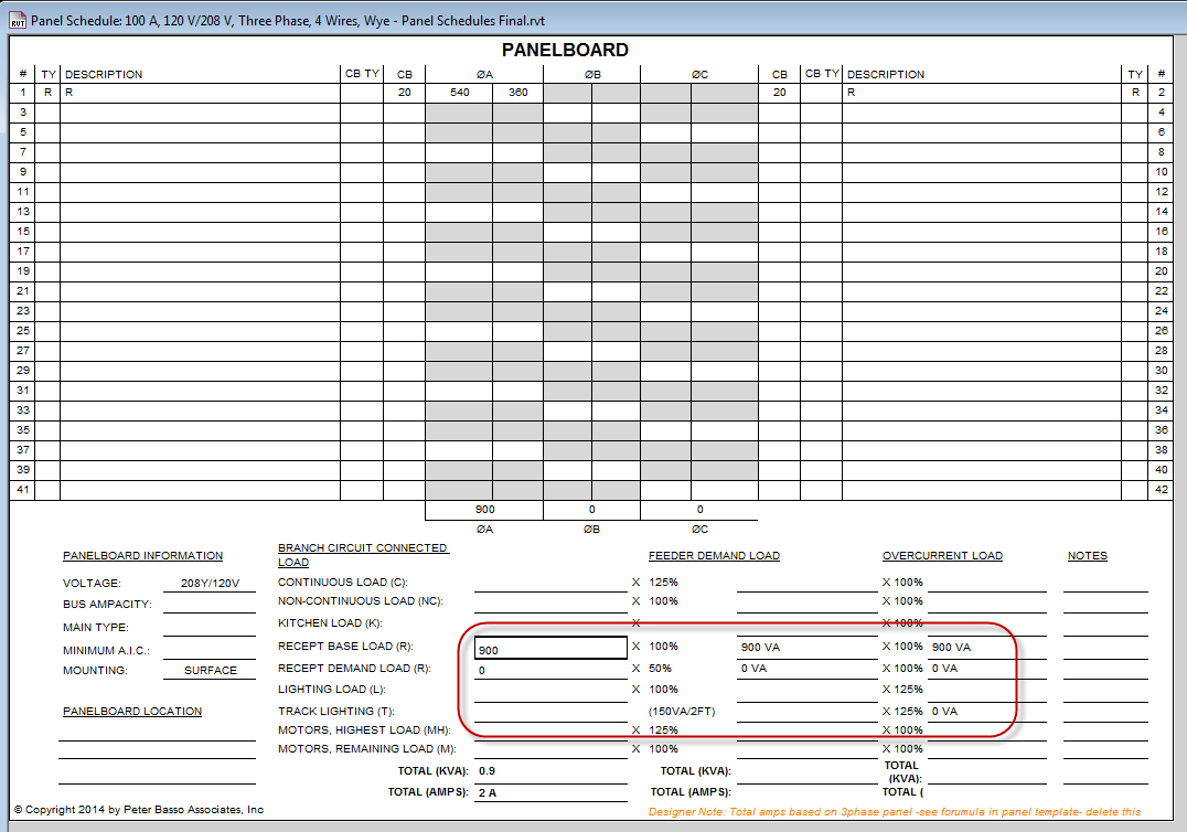 Panel Schedule Template formatting of Calculated Values - Autodesk ...