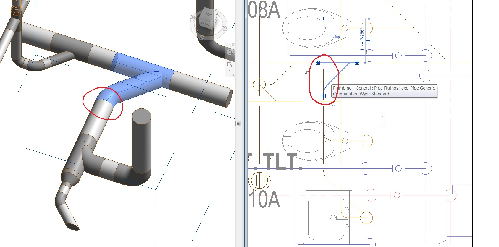 Solved Pipe Display Extends Beyond Fitting Autodesk Community Diagram General Plumbing And Piping Revit Products