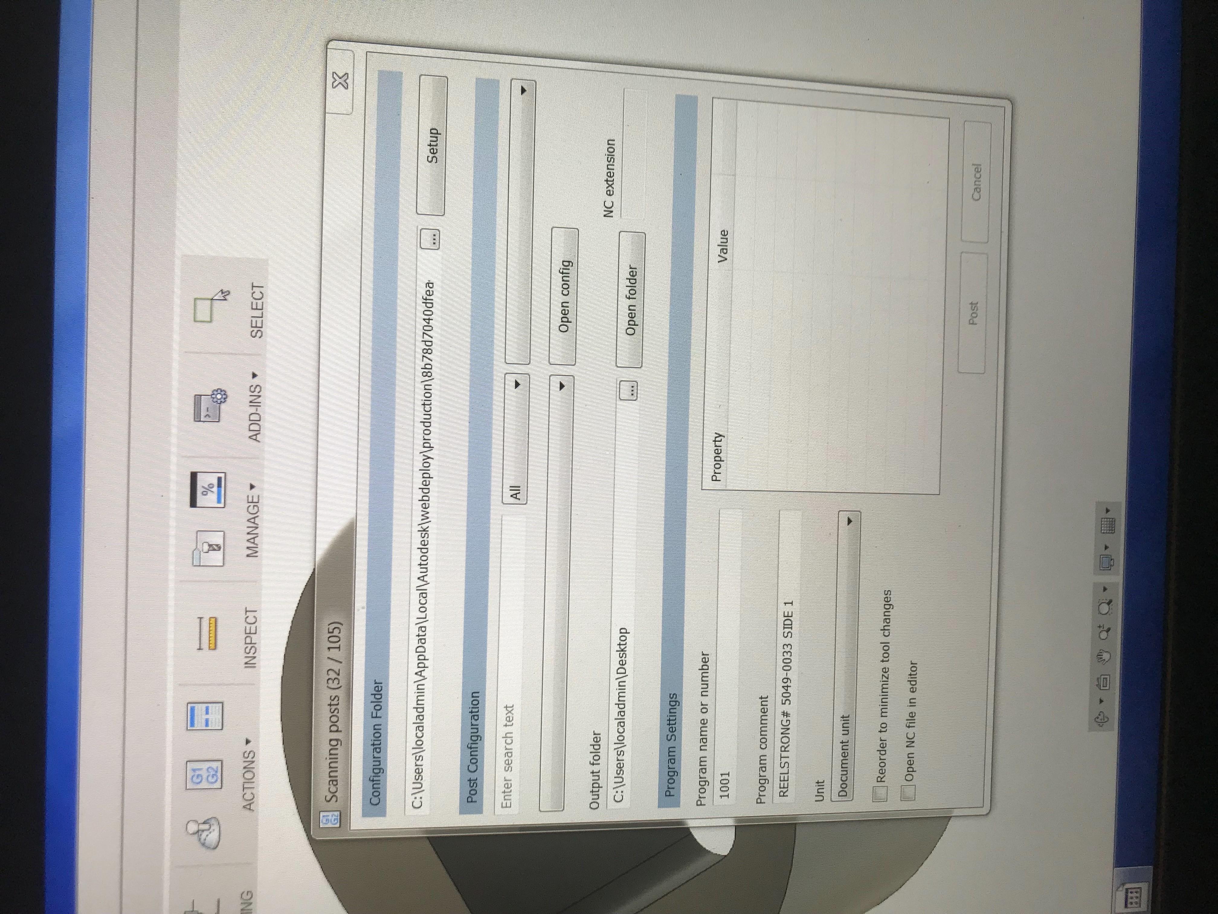 Post processor window freezes when loading - Autodesk