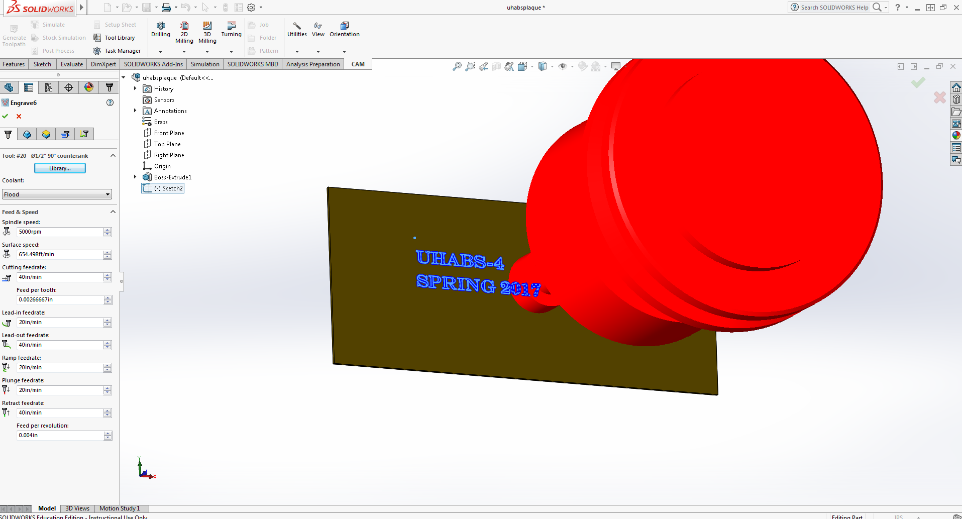 How to Engrave Text on Solidworks - Autodesk Community- HSM