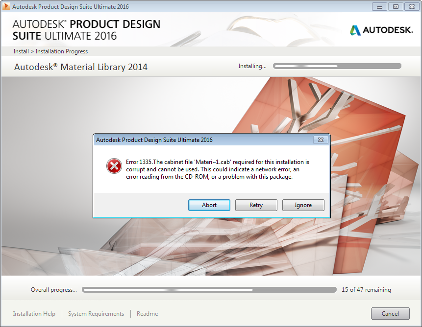 Error 1335 during install of Product Design Suite Ultimate 2016 ...
