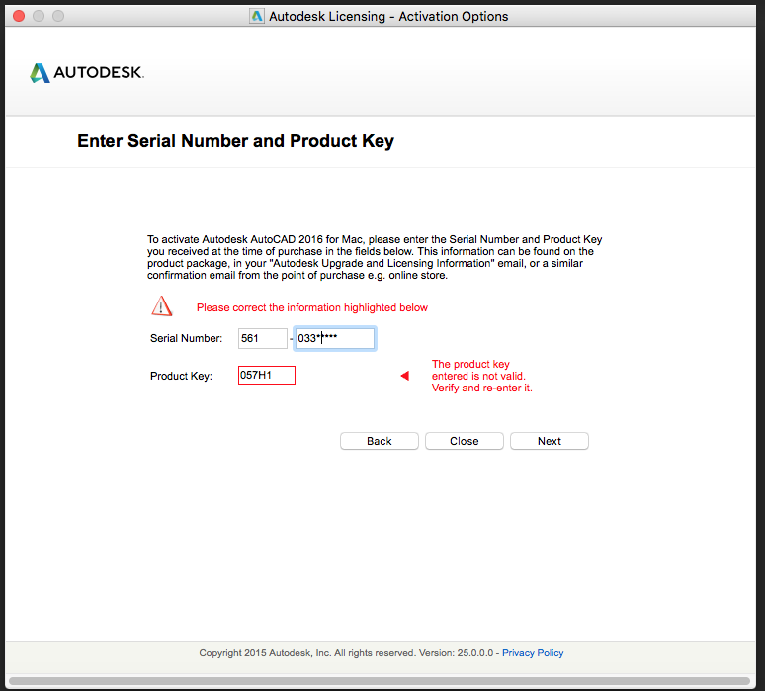 Enter serial number and product key autodesk 2018 | AUTODESK