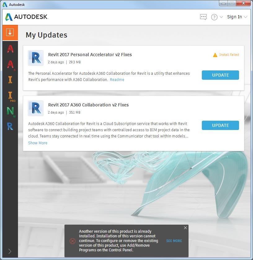 Solved  Revit 2017 Autodesk A360 Collaboration - Install Failed On Update