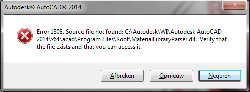 Solved: error 1308. Source file not found! Autodesk community.