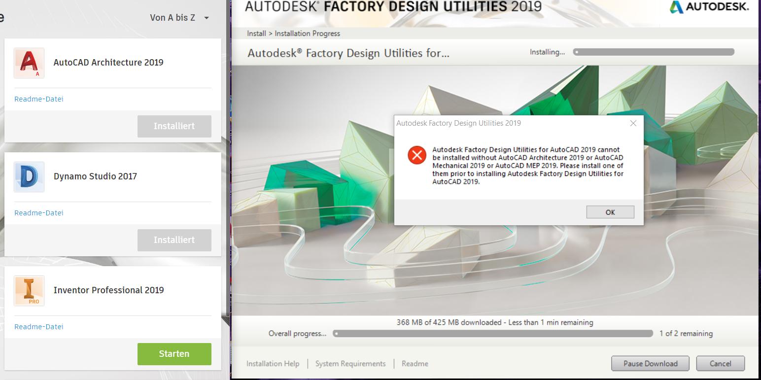 Error   Factory 2019 For Autocad Installation Problem