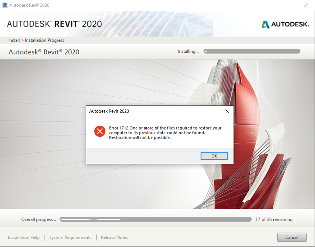 Revit 2020 Installation Error 1603 And Error 1712