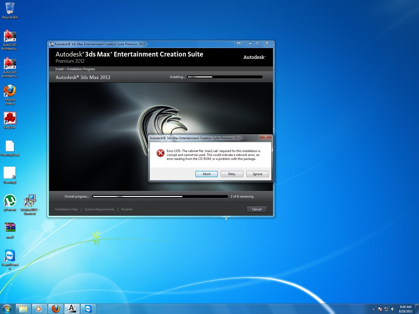 error 1335. the cabinet file 'max2.cab' required - Autodesk Community