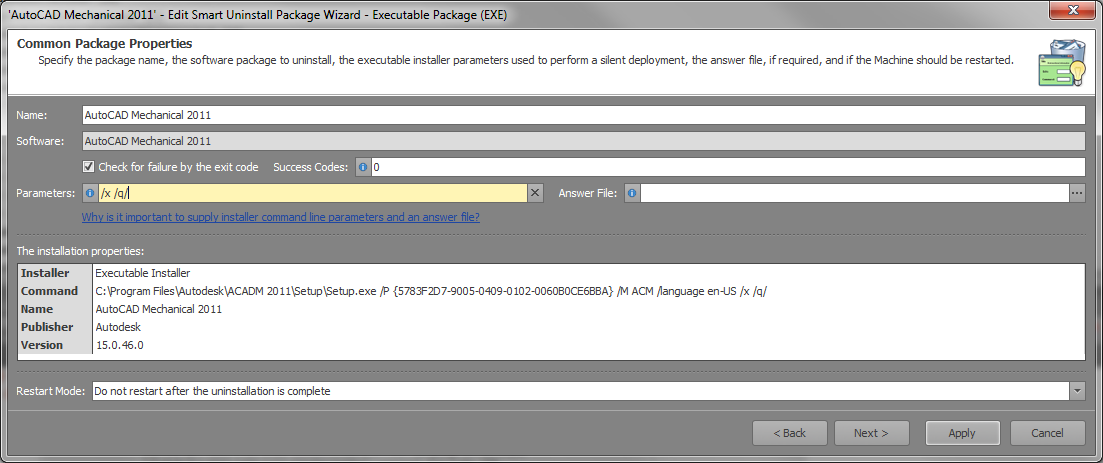 Silent Uninstall of AutoCAD 2011 via SCCM - Autodesk
