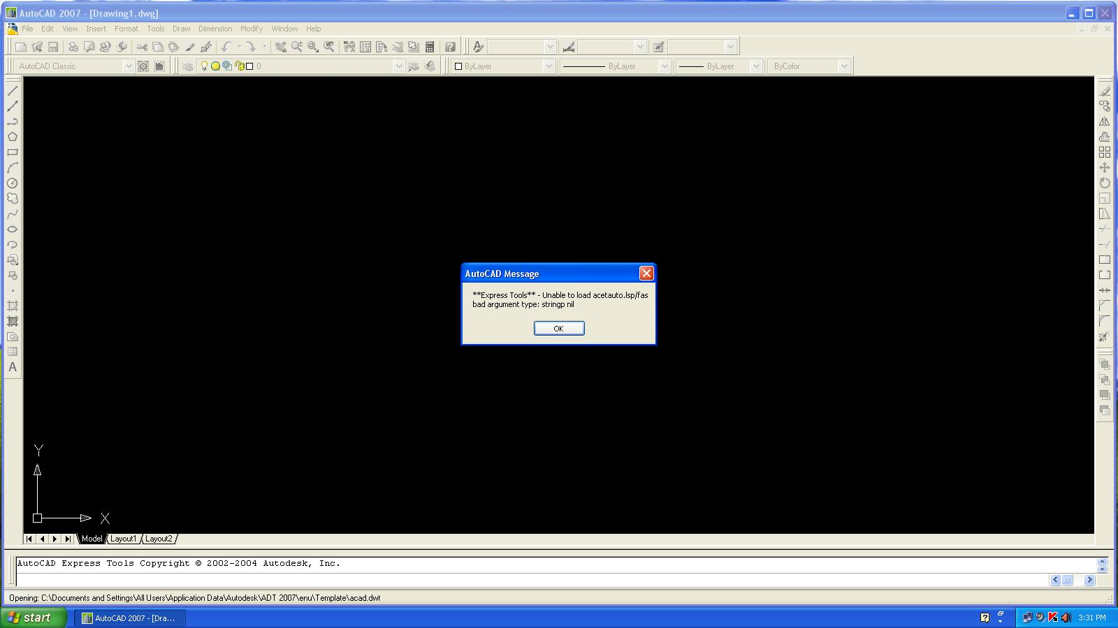 Express Tools** - Unable to load acetauto lsp/fas bad - Autodesk