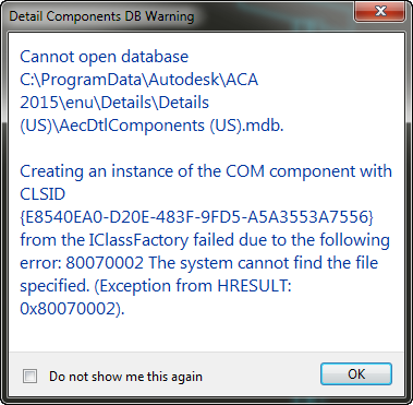 Error running detail components on 2015 - Autodesk Community