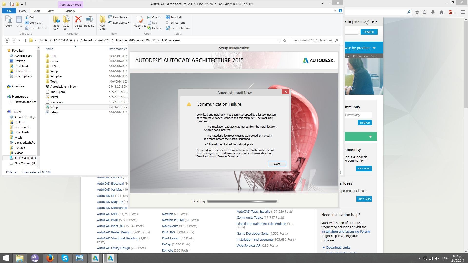Problems Installing Autocad Architecture 2015