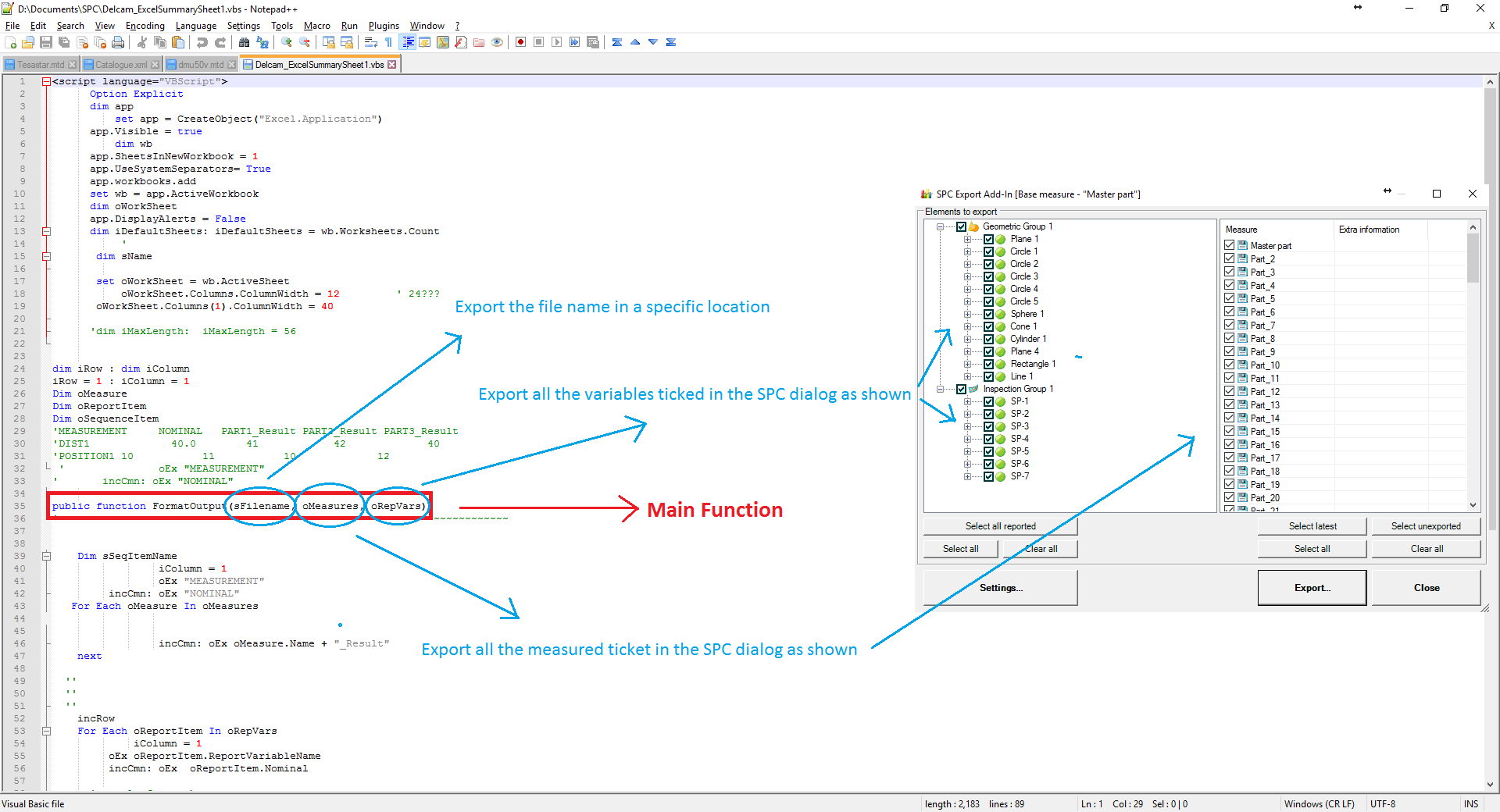 Solved: How to include part name in csv export for SPC add