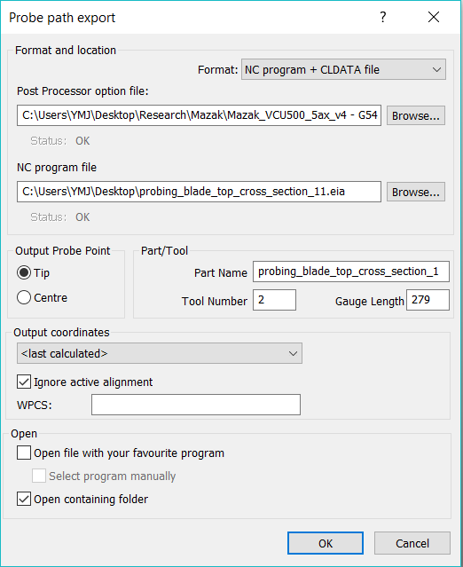 Gelöst: Trying to create probe path G-code (*.eia file) for Mazak ...
