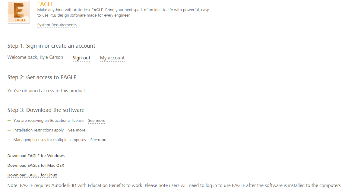 Solved: Can\'t use student version of Eagle - Autodesk Community- EAGLE