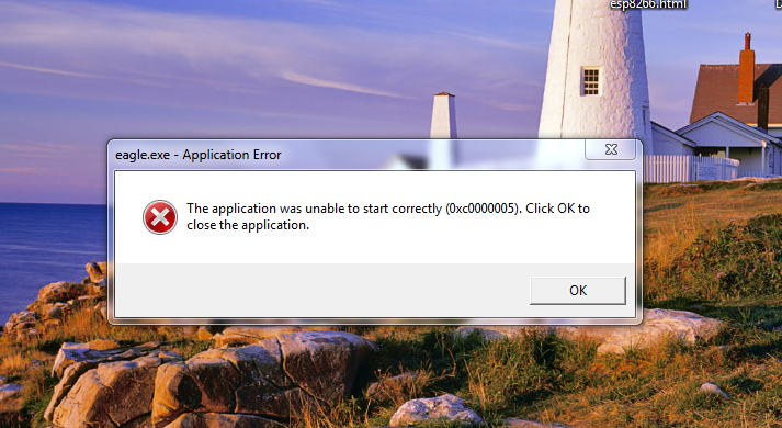 Application was unable to start Eagle latest version error