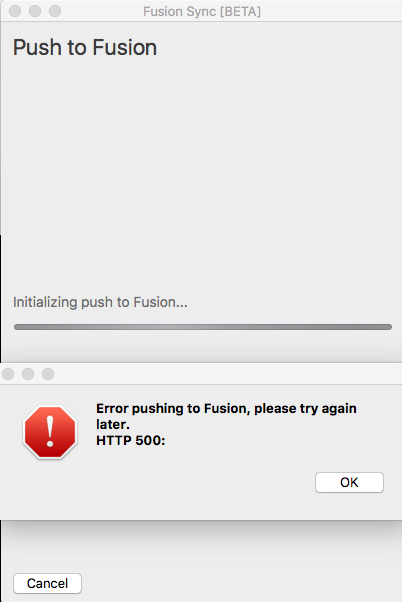 HTTP Error 500 when pushing / Syncing PCB to Fusion