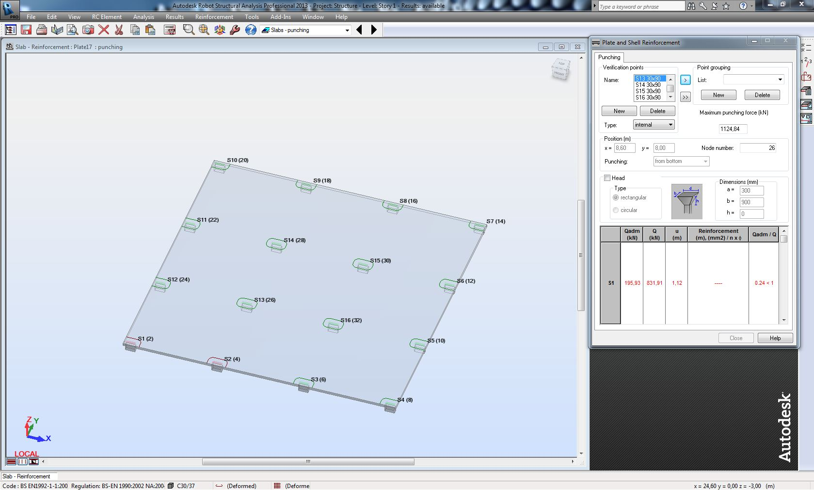 Punching Shear Capacity Ratio Autodesk Community Diagram Calculator This Information Is Available In The Table And Calculation Note But Not Displayed Directly On Viewer Where Locations With Ration Above 1 Are