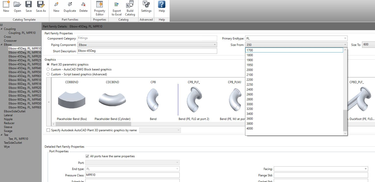 How do I add a new pipe size (Nominal Dia ) in catalog