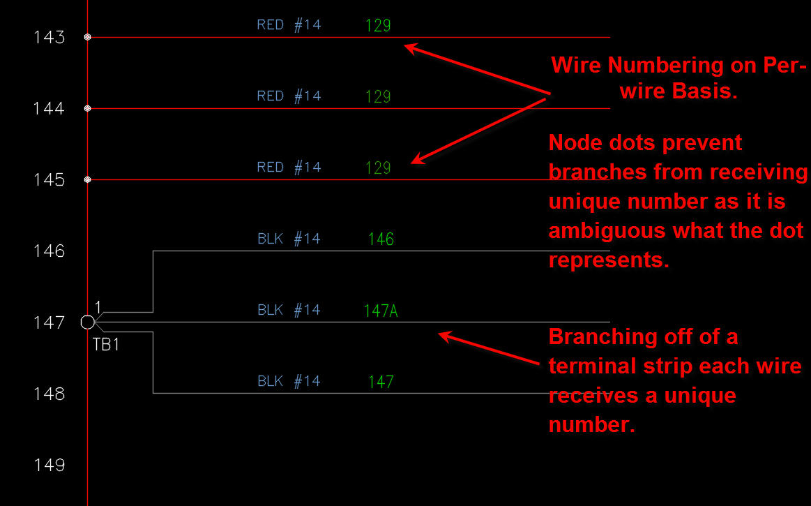 Solved Wire Numbers On Per Basis Autodesk Community Single Node Wiring Diagram Autocad Electrical