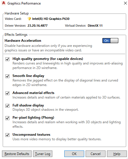 Solved: nVidia Quadro graphics card not used by autocad