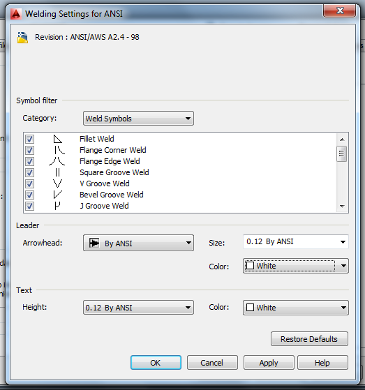Solved Am2014 Changing Weld Symbol Color Option Removed Autodesk