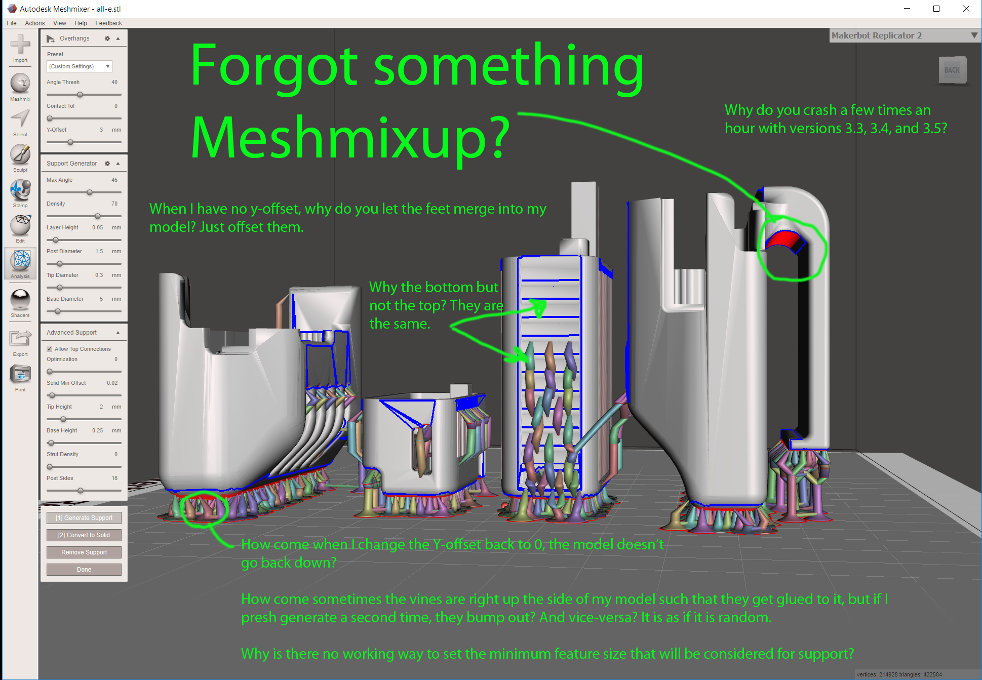 Meshmixer printer support  - Autodesk Community- Netfabb