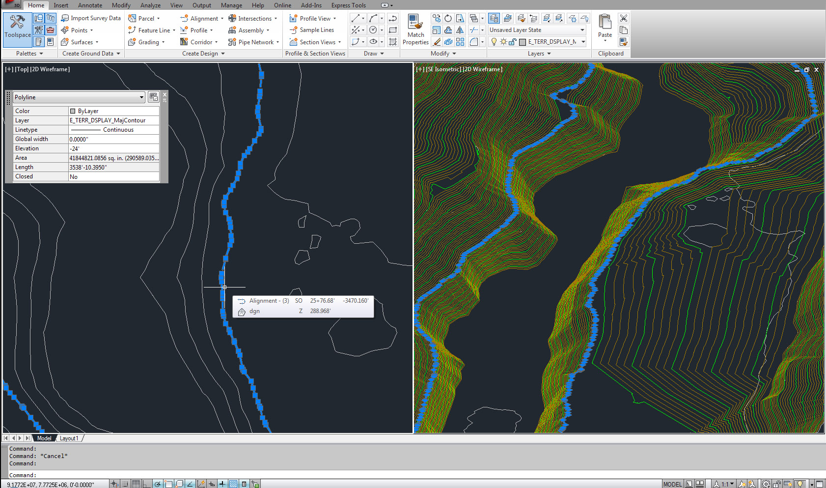 Contour Line Drawing In Autocad : Creating surface from dgn contours autodesk community civil d