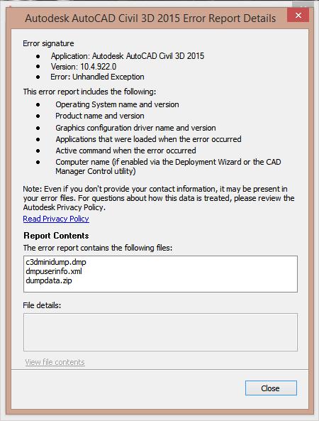 fatal error autocad 2015 autodesk community civil 3d