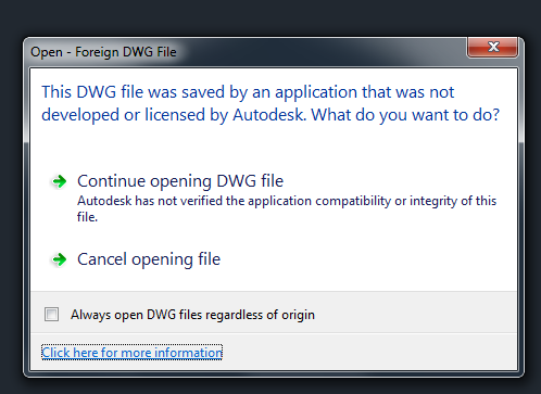 DWG file was not developed or licensed by Autodesk - Autodesk ...
