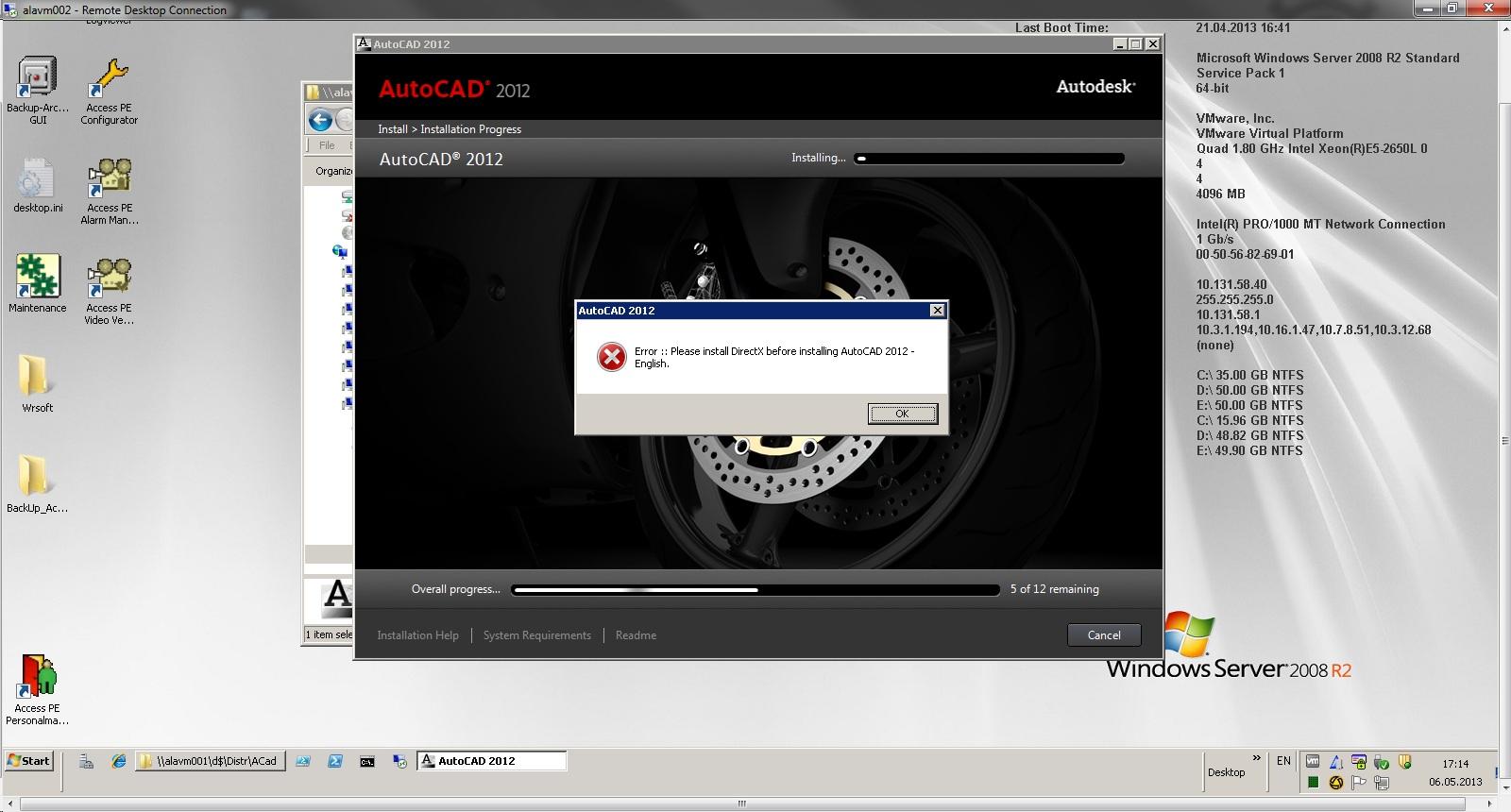 Installation Problems Autocad 2012