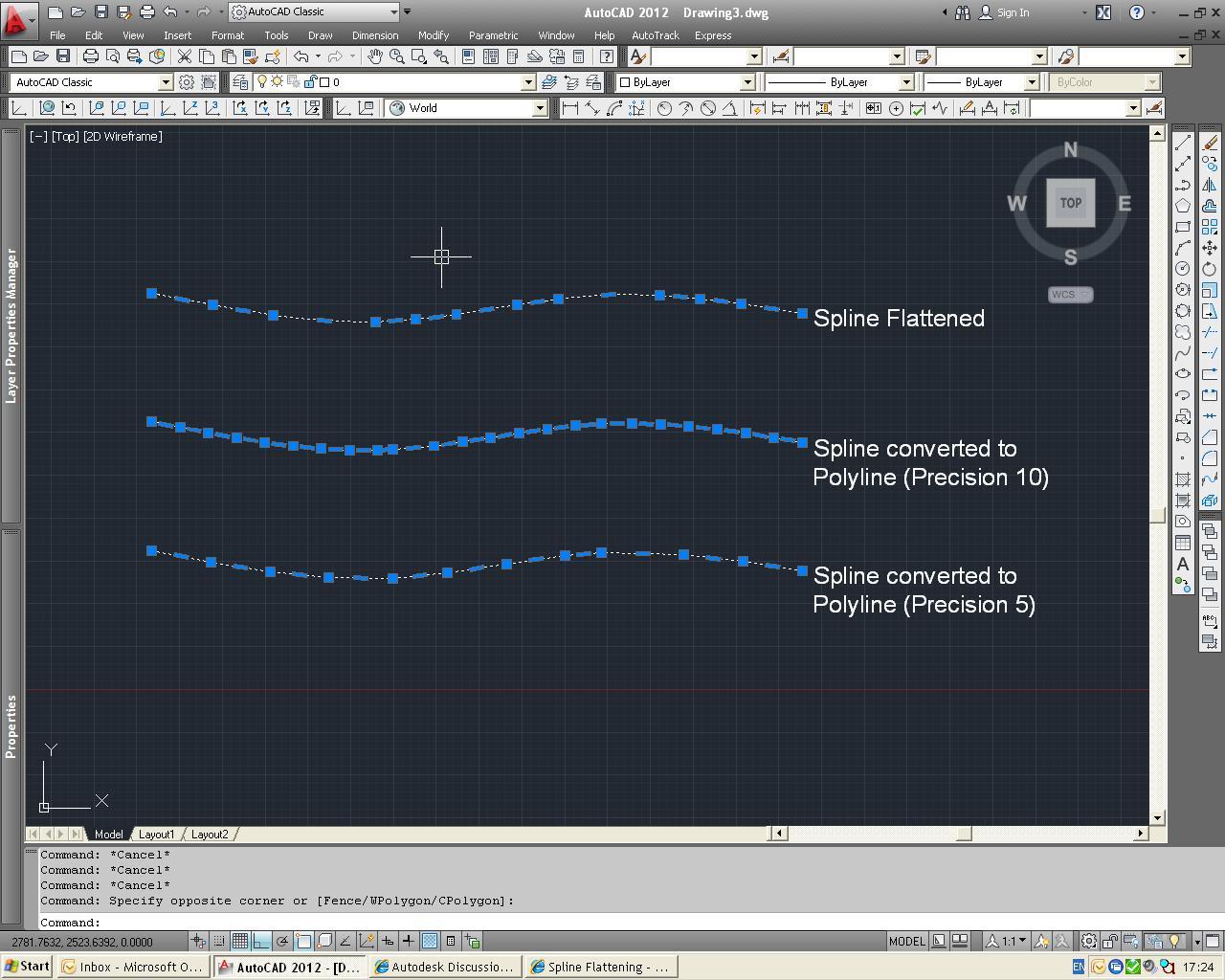 Drawing Smooth Lines In Autocad : Spline flattening autodesk community autocad