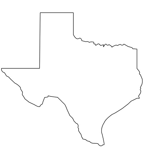 Texas State Outline With Capital